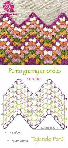 "Crochet: granny ripple stitch diagram or pattern! ""Granny ripple stitch diagram that I actually understand! Bag Crochet, Crochet Ripple, Crochet Motifs, Manta Crochet, Granny Square Crochet Pattern, Crochet Stitches Patterns, Crochet Diagram, Crochet Chart, Crochet Granny"