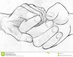 Holding Elderly Hand - Pencil Sketch Stock Illustration - Illustration of grip, hold: 53332132