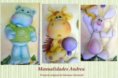 Hippo, giraffe, rabbit cute but no tutorial Sculpey Clay, Polymer Clay Figures, Polymer Clay Animals, Clay Wall Art, Clay Art, Clay Projects, Clay Crafts, Polymer Characters, Homemade Clay Recipe