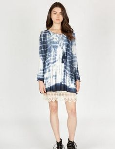 9a5502b2fae31 Umgee-M9797 tie dyed tunic with lace available at Trees n Trends Tie Dyed