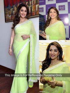 Thankar Lime Green Multy Work Georgette Bollywood Designer Saree Bollywood Sarees