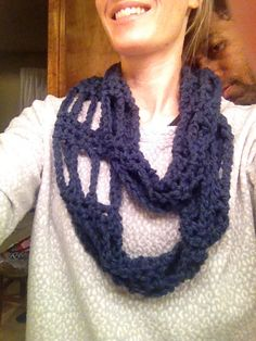 Chutes and ladder infinity scarf. Chain in multiple of 8 long enough for the scarf- working in the round. Pattern is: row 1: 3 dc, ch 7; row 2-?: dc in the 2nd, 3rd, and last space of previous row ch7... Fast and easy.