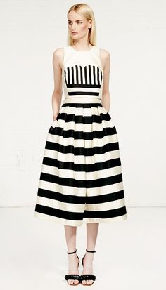 Tibi - Escalante Striped Silk Full Skirt