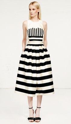 Tibi - Escalante Striped Silk Full Skirt