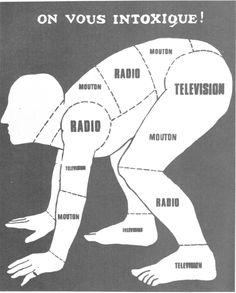 1968 mai On vous intoxique. Affiche de l'atelier populaire des Beaux-arts