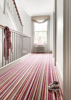 Sophie Conran for Axminster Carpets - Day at the Beach in Knickerbocker Glory (Narrow) Luv! Tiled Staircase, Carpet Staircase, Hall Carpet, Stairs, Knickerbocker Glory, Striped Carpets, Axminster Carpets, Edwardian House, Stair Landing