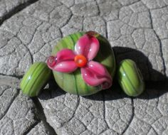 PUNCH Three Petal Flower Focal Lampwork Beads by by happyskull, $16.00
