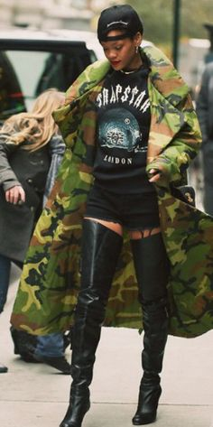 Image result for rihanna in vetements camo jacket
