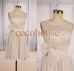 New White Lace Chiffon Knee length Prom Dresses от cocohouse
