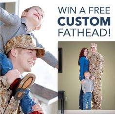 Win a custom Fathead! Fathead's Salute to Service Sweepstakes is open only to active service members and members of their immediate family. Qualifying entrants will be eligible to win one of five free custom Fatheads in their monthly drawings. Enter once a month to increase your chances of winning! Plus 20% everyday for military. http://www.fathead.com/sweepstakes/salute-to-service/