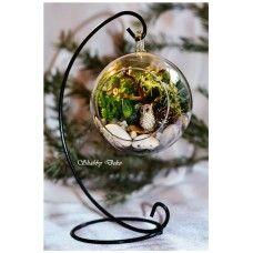 Terrarium in glob, pe suport metalic - Bufnita Shabby, Glass Ball, Terrarium, Unique Gifts, Interior Design, Metal, Garden, Home Decor, Deco