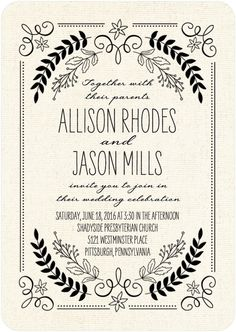 Rustic Wreaths - Signature Letterpress Wedding Invitations in Black or Silver | Sarah Hawkins Designs