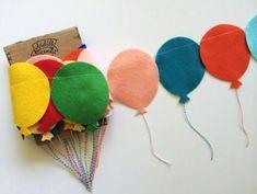 Recycling for Handmade Garlands, 15 Brilliant Home Decorating Ideas - DIY - Decoration Felt Garland, Balloon Garland, Balloons, Felt Bunting, Felt Banner, Party Garland, Felt Crafts, Diy And Crafts, Arts And Crafts