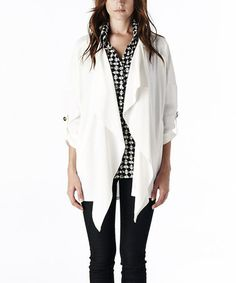 White Drape Open Cardigan by S-Line on #zulily! #zulilyfinds
