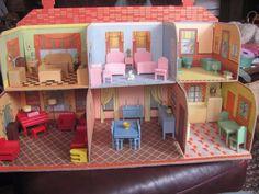 Vintage Strombecker~Pressed Cardboard Dollhouse~W/ 77 pcs Furniture & Accesories | Toys & Hobbies, Vintage & Antique Toys, Play Sets | eBay!