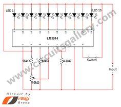LED dot display based Battery charge level indicator circuit diagram