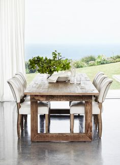 Handcrafted from genuine English reclaimed timber sourced from old buildings in the UK, some up to 100 years old, the Causeway Dining Table is the perfect podium for convivial dinner parties or big family gatherings Black Dining Room Furniture, Dining Room Sets, Home Office Furniture, Outdoor Furniture Sets, Wood Furniture, Timber Dining Table, Glass Dining Table, Dining Chairs, Arm Chairs
