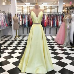 Simple Yellow V Neck Two Piece Prom Dress Yellow Long Evening Party Dress 2 Piece Prom Dress, Simple Prom Dress, Prom Girl Dresses, Cheap Prom Dresses, Wedding Dresses, Party Gowns, Party Dress, Prom Party, Yellow Evening Dresses