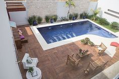 Leisure Area With Pool Small Swimming Pools, Small Backyard Pools, Backyard Pool Designs, Small Pools, Swimming Pool Designs, Pool Landscaping, Backyard Patio, Small Pool Design, Modern Pools