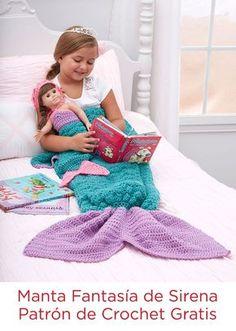 Manta Fantasía de Sirena Instrucción a Gancho -- Tu niña se sentirá como una sirena cuando se abrigue bajo esta manta. Escapará al país de las maravillas mientras lee o comparte sus sueños con su muñeca.