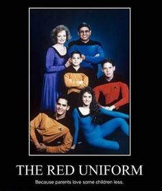 This cracked me up. I'm also jealous this family got to wear Star Trek uniforms for their family photos. If only my family had done this!