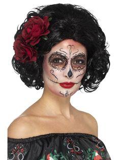 Day of the Dead -ruusuperuukki; lyhyt. Täydennä peruukkia maskeerauksella sekä asiaan kuuluvalla asulla.