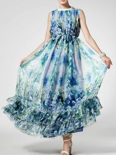 Normally I'm not a floral person but this looks lovely AND comfortable | Blue Floral Print Maxi Vacation Dress with Flounced Hem | Persunmall $40