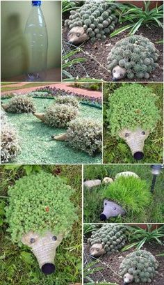 DIY Plastic Bottle Hedgehog Planter http://susiequte.blogspot.com/2014/05/hedgehog-planter-from-plastic-bottle-diy.html