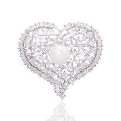 Silver Love Shape Brooch
