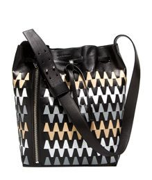 ELENA GHISELLINI: LEO GRAPHIC MAXI BUCKET BAG COLOR BLACK | Playground Shop