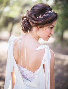 "Green Wedding Shoes- ""Deia"" Crystal Headband in Rose Gold"
