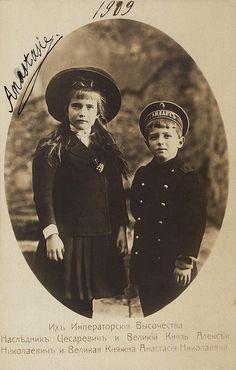 Grand Duchess Anastasia Nikolaevna of Russia with...