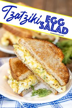 Tzatziki Egg Salad - egg salad made with homemade tzatziki sauce. The BEST! Hard-boiled eggs, Greek yogurt, cucumber, garlic, olive oil, and celery. Will keep 3 to 5 days in the refrigerator. Serve on toast or in a lettuce wrap or celery for a low-carb keto-friendly meal. #eggs #sandwich #lowcarb #ketofriendly Egg Salad Sandwiches, Wrap Sandwiches, Masters Egg Salad Recipe, Hard Boiled, Boiled Eggs, How To Make Salad, Food To Make, Fruit Salad With Pudding, Low Carb Recipes