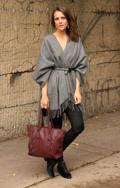 """The word """"shawl"""" may bring to mind your grandmother's closet, but we assure you this season shawls are totally in—just look at this subtly sexy ensemble! #fall #style"""