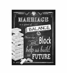 Jenga Wedding Sign - Print instantly after purchase - 3 sizes available - instant download digital file - DIY - Rustic Collection on Etsy, $3.00
