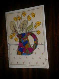 Handmade Birthday card in fabric