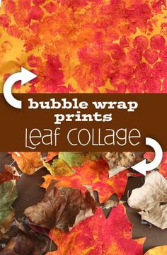 A fall collage of leaves and bubble wrap art.