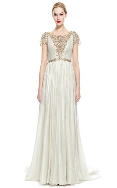 Hand-Pleated Silver Foil Embroidered Chiffon Gown by Marchesa for Preorder on Moda Operandi