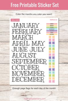 Free printable sticker set for your planner or bullet journal: Months, Days of the Week, and page flags!