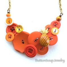 Funky Pineapple Bright Orange Button Necklace by buttonsoupjewelry on Etsy