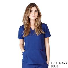 Junior fit cross over mock wrap scrub top. Two patch pockets Short sleeves Two front vents Navy Blue Scrubs, Medical Scrubs, Scrub Tops, Fashion Brands, Topshop, Tunic, Rompers, V Neck, Fitness