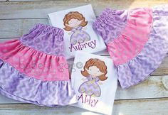 Sofia the First inspired outfit. So cute!!! The one that says Aubrey is for my daughters 4th Birthday :)