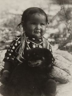Untitled (Native American Child with Dog)  Artist: Richard Throssel, American, 1882 - 1933 Creation Date: c. 1910