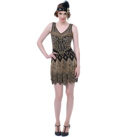 Hand Beaded Black & Gold Carwash Hem Flapper Dress - Unique Vintage - Prom dresses, retro dresses, retro swimsuits.