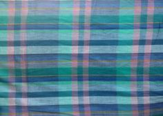 Vintage 80's Madras Plaid Cotton Fabric 6 Yards by VintageVerbatim