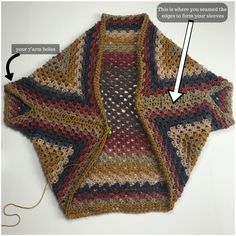 Transcendent Crochet a Solid Granny Square Ideas. Inconceivable Crochet a Solid Granny Square Ideas. Crochet Shrug Pattern, Black Crochet Dress, Crochet Cardigan Pattern, Crochet Jacket, Crochet Patterns, Crochet Ideas, Crochet Projects, Knitting Patterns, Sewing Patterns
