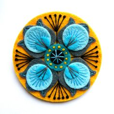 MARRAKECH felt brooch pin with freeform embroidery - scandinavian style