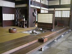 Japanese Buildings, Japanese Architecture, Architecture Design, Japanese Style House, Traditional Japanese House, Japanese Interior, Japanese Design, Irori, Tatami Room