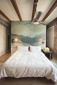 design schlafzimmer wandgestaltung bett kopfteil malerei