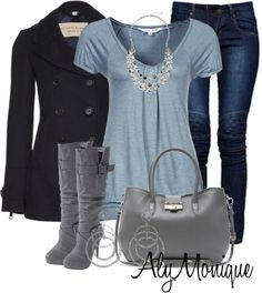 clothes. blue gray and black